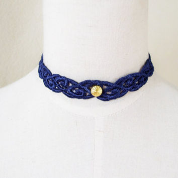 blue lace gold charm choker necklace gothic vintage Victorian steampunk  women jewelry gift