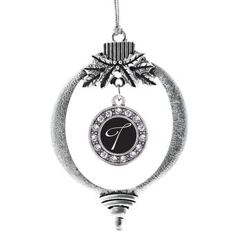 My Script Initials - Letter T Circle Charm Holiday Ornament