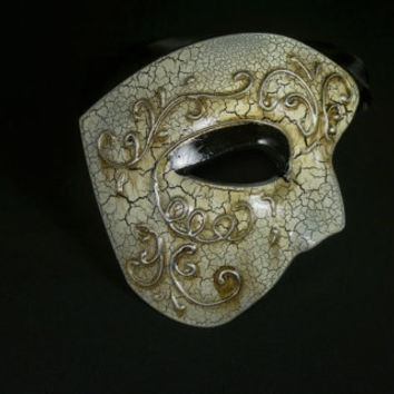 Phantom of the Opera Mask in Silver and Ivory with Lace