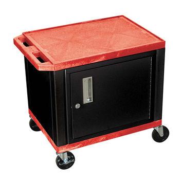 H. Wilson Mobile Multipurpose Storage Utility Cart Lockable Cabinet No Electric Push Handle Black