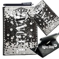 NEW! ANGEL 3D GEMS BLING! iPad2 3 or 4 Crystal & Rhinestone on Black PU Leather Folio wi/Built-in Stand & Stylus