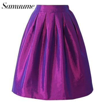 Samuume 2016 New Arrival Summer Pleated Umbrella Midi Skirts High Waist Purple Green Circle Swing Elegant Skirts Female Q7008