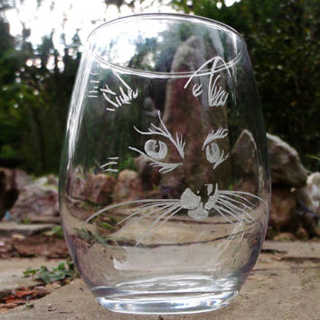 Stemless cat wine glasses  , unique glass set , barware set of two cat lovers gift ideas kittens