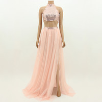 Fashion Women Evening Party Ball Prom Gown Bridesmaid Cocktail Two-piece Dress