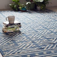 Seawell Indigo Wool Woven Rug | Urban Outfitters