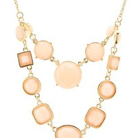 Pale Peach Tiered Faceted Stone Necklace by Charlotte Russe