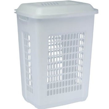 United Solutions LN0033 Rectangular Two Bushel White Laundry Hamper with Lid-2 Bushel Capacity Hamper and Lid in White