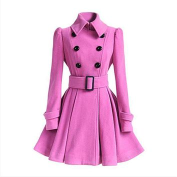 ICIK272 Wool coat belt buckle coat