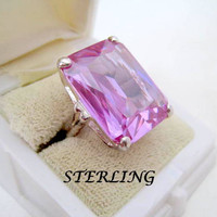 Sterling Silver Ring Faceted Amethyst Size 8
