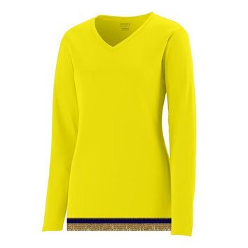 Women's Performance Bright Yellow Long Sleeve T-shirt With Fringes