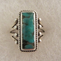 Sterling Silver Turquoise Native American Style Vintage Signed KBN Ring Sz 7.5 - 5.58g