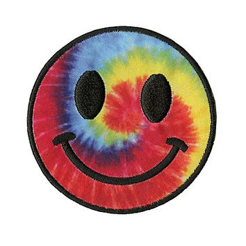 Tie Dye Smiley Face Patch