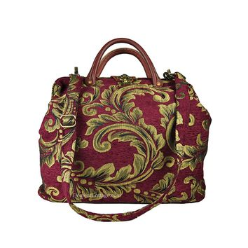 Modern Satchel -Cranberry with Leaves