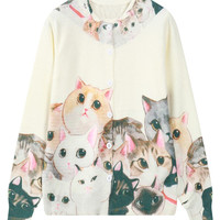 Cream Cute Cats Knitted Button Front Cardigan