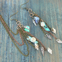 ear cuff set abalone and seashell chained ear cuff SET