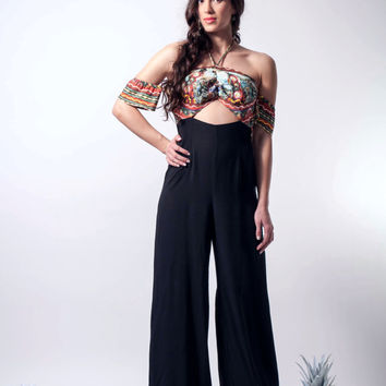 Black  jumpsuit, halter neck jumpsuit, open back jumpsuit, halter jumpsuit, wide legs jumpsuit, knights pattern, limited edition