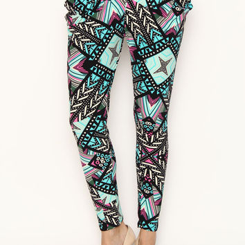 Abstract Print Harem Pants