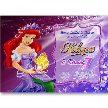 Princess Ariel Sparkle, Ariel Invitation - Little Mermaid Invitation Kid Birthday Invitation Party Design