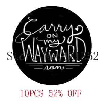 Supernatural Inspired Carry On My Wayward Son Glass Photo Cabochon Necklace keyring bookmark cufflink earring