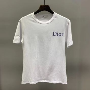 """ Dior"" Woman Casual Fashion Letter Printing Cotton Loose Short Sleeve Tops"