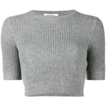 Valentino Ribbed Knitted Crop Top - Farfetch