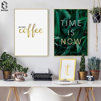 TIME IS NOW NEON Posters and Prints Leaves Wall Art Canvas Painting Green Style Plant Nordic Picture Modern Home Decoration