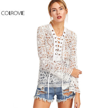 COLROVIE Lace Women Shirt Long Sleeve Womens Sexy Blouse Ladies Shirts White Eyelet Lace Up Flare Sleeve Lace Blouse
