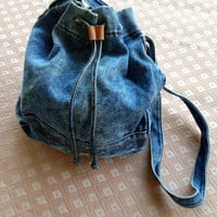 Vintage 80s acid wash denim purse