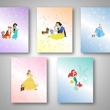 five minimalistic disney princess digital downloads.. print anywhere you wish.. great birthday party decor!