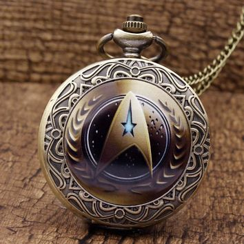 New Arrival Star Trek Theme Steampunk Vintage Quartz Pocket Watch Unique Fashion Men Watches Necklace Chain Reloj de bolsillo