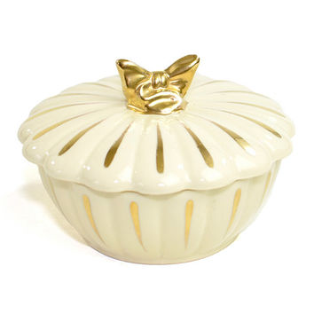 Gold Bow Ceramic Trinket / Jewelry Box or Candy Dish - Glamorous Gilt, Elegant Scalloped Design, Shabby Chic  - Vintage Home Decor