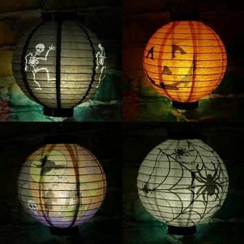 Halloween Lantern Terror Decoration LED Paper Pumpkin Light Hanging Pumpkin Lantern Light