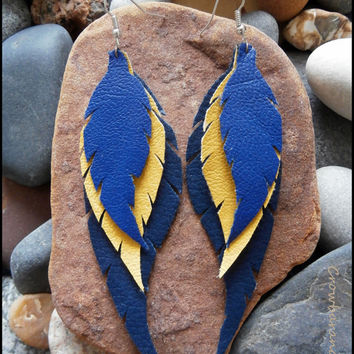 Feather Wings Vegan Leather Earrings Layered Handmade Handcut - Tribal Hippie Fairy Elf Gipsy Bohemian Steampunk Punk