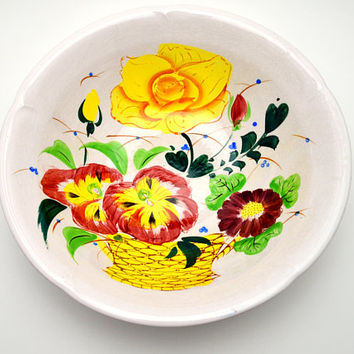 Vintage Ironstone Bowl, Painted Flower Basket, Eagle Brand, Made in Japan, Fruit Bowl, circa 1940s