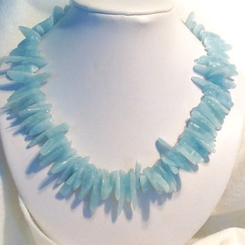Aquamarine necklace, Aqua necklace, Aquamarine Graduated Necklace, Classic necklace, Blue-green Necklace, Anniversary Necklace