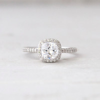 Antique Square Forever Brilliant Moissanite Conflict Free Diamond Halo Engagement Wedding Ring Set
