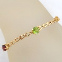 Estate 14K Gold Multi Gemstone Chevron Link Bracelet
