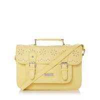 Pale yellow cut out satchel bag at debenhams.com