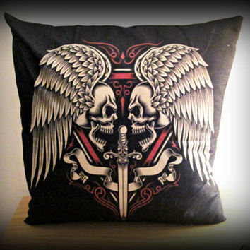 Unique skull design cushion cover-angle wings skull cushion cover-sword gothic cushion case-punk cushion cover skull pillow cover