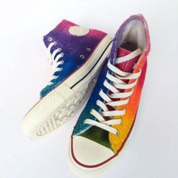 DCCK1IN rainbow tie dye cable knit fall and winter sweater converse
