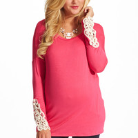 Pink Crochet Accent Sleeve Maternity Top