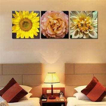 3 Piece Ready to Hang Sunflower Canvas For Living Room 30X30CM Gift