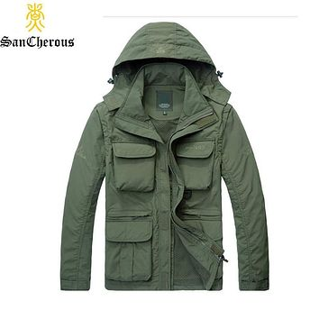 2019 New Men Multi-pocket Waterproof Jacket Spring Autumn Outerwear Hood Sleeve Detachable Coat