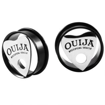 2pcs Steel Ouija Board Planchette Ear Plugs and Tunnels Punk Style Charm Choker Ouija Ear Stretcher Sexy Body Jewelry Piercings