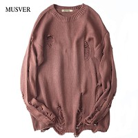 MUSVER Korean Cotton Sweater Men 2017 Winter High Street Fashion Solid Brand Hip Hop Oversized Ripped Pullovers Sweater For Male