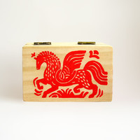 Red Horse Pegasus wooden Box, Christmas gift idea, Christmas home decor, jewelry treasury box, recipe box, handpainted