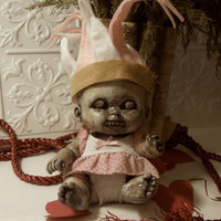 Creepy Horror Prop Doll Altered Art Dead Cupid Valentine Baby Zombie Odd Scary Weird Macabre Gothic From Lorcheenas