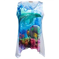 Dolphin In Coral Juniors Tank Top Tunic