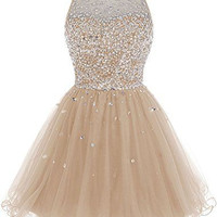 Homecoming Dress,  High Neck Champine Homecoming Dress with Beadings