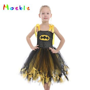 Batman Dark Knight gift Christmas Fluffy Princess Girls Tutu Dress Batman Superhero Kids Party Dresses Children Cosplay Costume  Baby Birthday Outfits Vestidos AT_71_6